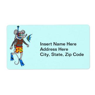 Scuba Diving Mouse Shipping Label