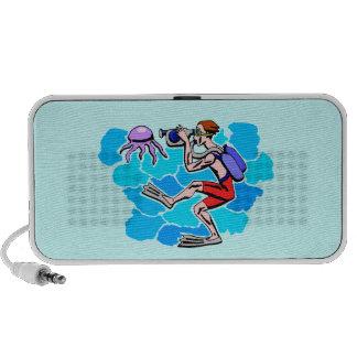 Scuba Diving Photographer Design Doodle Speaker System
