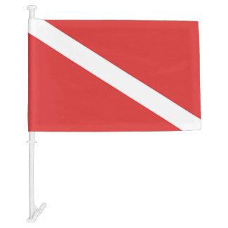 SCUBA DIVING RED FLAG SYMBOL, DIVERS CAR FLAG