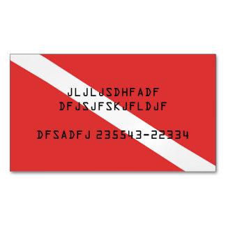 SCUBA DIVING RED FLAG SYMBOL, DIVERS CARD MAGNET BUSINESS CARD MAGNET