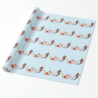 Scuba Diving Santa Claus Wrapping Paper