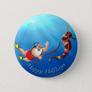 Scuba Diving Santa & Seahorse Button