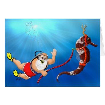 Christmas Themed Scuba Diving Santa & Seahorse Christmas Card