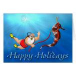 Scuba Diving Santa & Seahorse Happy Holidays Greeting Card