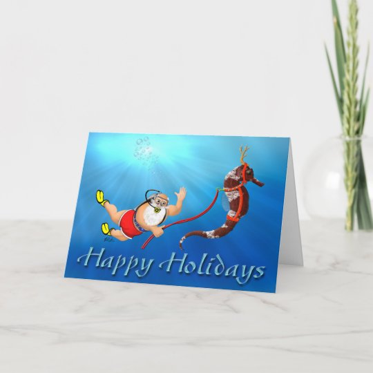 scuba diving santa seahorse happy holidays holiday card - Happy Holidays Card