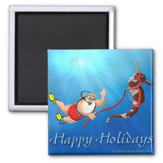 Scuba Diving Santa & Seahorse Magnet