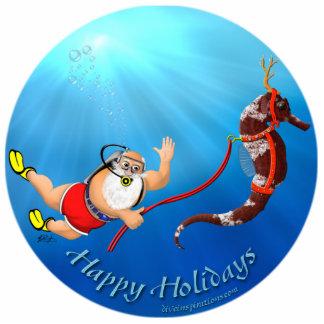 Scuba Diving Santa & Seahorse Ornament