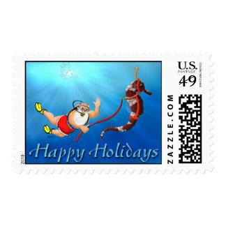 Scuba Diving Santa & Seahorse Postage