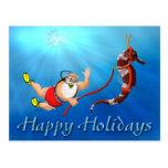 Scuba Diving Santa & Seahorse Postcard