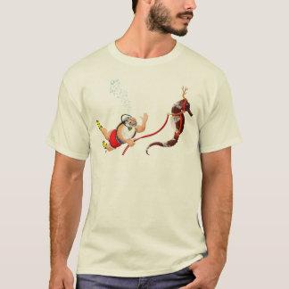 Scuba Diving Santa & Seahorse T-shirt