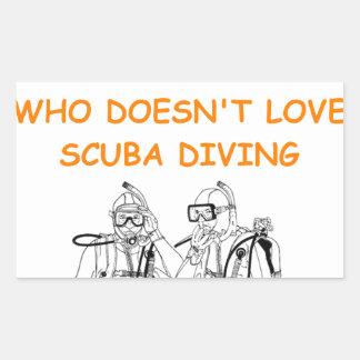 scuba diving rectangular sticker