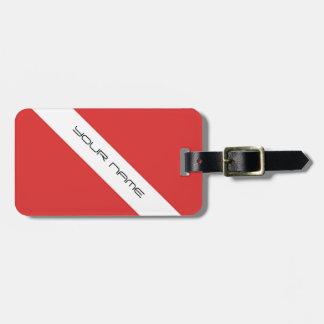 Scuba Diving Symbol- Flag Divers Emblem Red White Travel Bag Tag