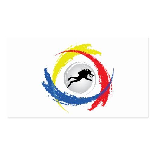 Scuba Diving Tricolor Emblem Business Card