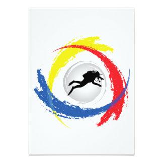 Scuba Diving Tricolor Emblem Card