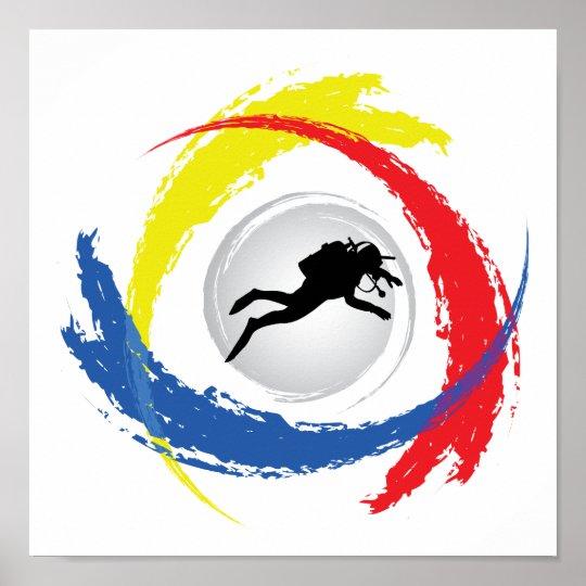 Scuba Diving Tricolor Emblem Poster