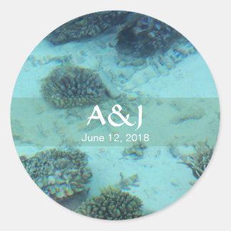 Scuba Diving Tropical Maldives Ocean Reef Wedding Classic Round Sticker