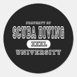 Scuba Diving University Dark Round Stickers