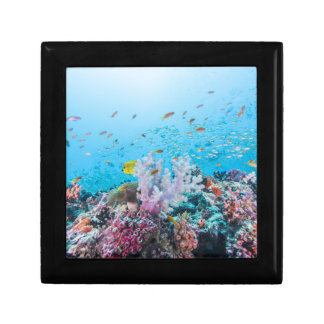 Scuba Diving With Colorful Reef And Coral Keepsake Box