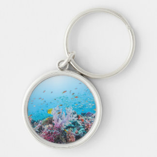 Scuba Diving With Colorful Reef And Coral Keychain