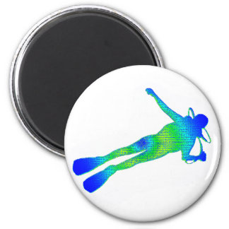 SCUBA FRENCH REEF 2 INCH ROUND MAGNET