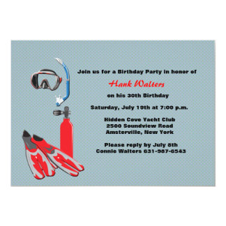 Scuba Gear Birthday Party Invitation