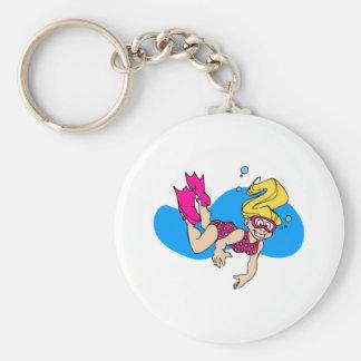 Scuba girl keychains