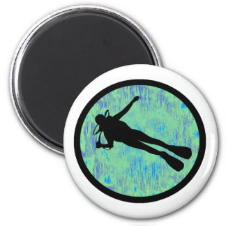 SCUBA GREEN LAGOON 2 INCH ROUND MAGNET