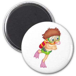 Scuba Kid 2 Inch Round Magnet