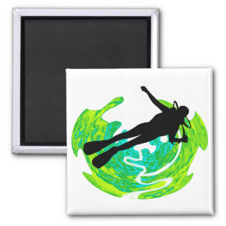 SCUBA LEFT WALL 2 INCH SQUARE MAGNET