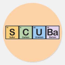 Round Sticker with Scuba design