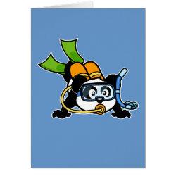 Greeting Card with Cute Scuba Diving Panda design