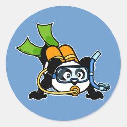Round Sticker with Cute Scuba Diving Panda design