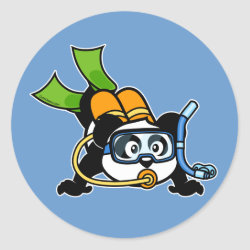 Round Sticker with Cute Scuba Diving Panda design