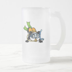 Frosted Glass Mug with Cute Scuba Diving Panda design