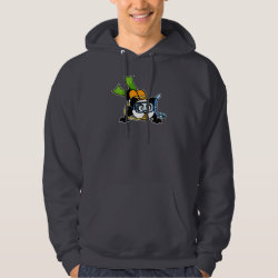 Men's Basic Hooded Sweatshirt with Cute Scuba Diving Panda design