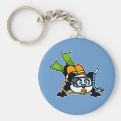 Basic Button Keychain with Cute Scuba Diving Panda design