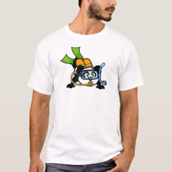 Men's Basic T-Shirt with Cute Scuba Diving Panda design