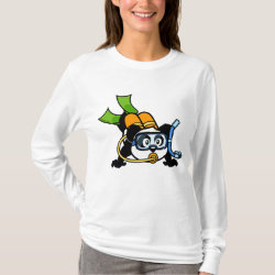 Women's Basic Long Sleeve T-Shirt with Cute Scuba Diving Panda design