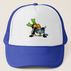Trucker Hat with Cute Scuba Diving Panda design