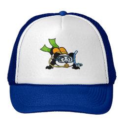 Trucker Hat with Cute Scuba Diving Panda design