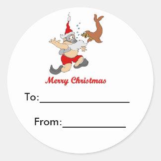 Scuba Santa Package Sticker