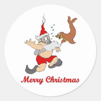 Scuba Santa Sticker