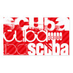 Scuba; Scarlet Red Stripes Double-Sided Standard Business Cards (Pack Of 100)
