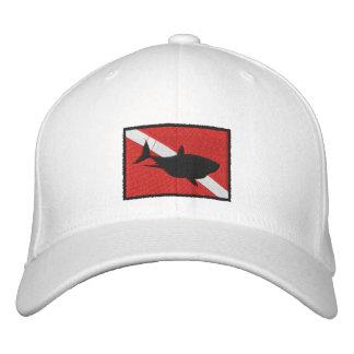 SCUBA Shark Diver Down Flag Embroidered Cap