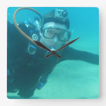 Scuba Square Wall Clock