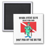 SCUBA Steve 2 Inch Square Magnet
