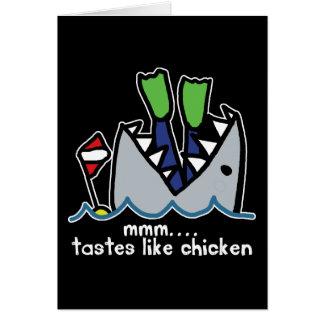 Scuba Tastes Chicken Shark Greeting Card