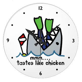 Scuba Tastes Chicken Shark Large Clock