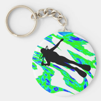 SCUBA THE WATERS BASIC ROUND BUTTON KEYCHAIN