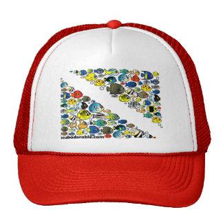 Scubadorable Diver Down Flag Hats
